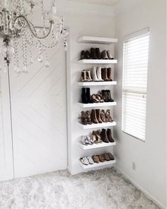 Shop Your Screenshots™ with LIKEtoKNOW.it, a shopping discovery app that allows you to instantly shop your favorite influencer pics across social media and the mobile web. Shoe Shelf In Closet, Shoe Shelf Diy, Shoe Storage Master Closet, Shoe Storage Ideas Bedroom, Room Ideas Bedroom, Closet Bedroom, Shoe Wall, Shoe Rack On Wall, Ikea Shoe