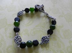 Green and Black Beaded Bracelet with Dark by CloudNineDesignz, $18.00