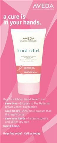 $4.00 of every purchase of this limited-edition Aveda Hand Relief lotion goes to the American Breast Cancer Research Foundation