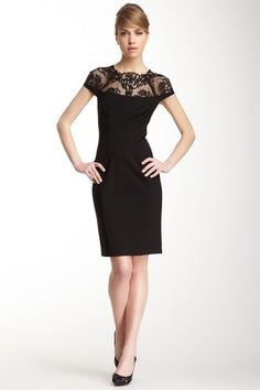 Ponte Fitted Lace Trim Dress