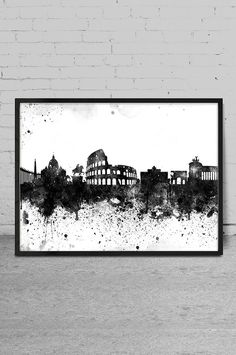 Rome City Watercolor Skyline Wall Art Print - Rome Watercolor Art - Abstract Watercolor Painting -x85