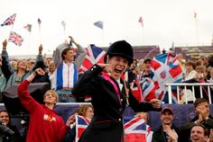 Sophie Christiansen of Great Britain celebrates winning gold during the Dressage Individual Championship Test Grade Ia on day 4 of the London 2012 Paralympic Games at Greenwich Park on Sept. 2 in London, England. (Scott Heavey/Getty Images)