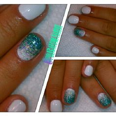 Shellac Gel Manicure with teal glitter! By @polishedwithlove!