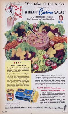 Kraft Casino salad, 1949 Highlights: beets and cheese and other stuff. Retro Advertising, Retro Ads, Vintage Advertisements, Vintage Ads, Vintage Food, Retro Recipes, Old Recipes, Vintage Recipes, Gross Food