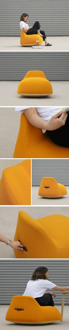 Just like the name suggests, the Yolk chair takes inspiration from everyone's favorite part of the egg! Just like the egg yolk, it can wiggle, move side-to-side and swivel 360 degrees. Crafted from super-cushy foam, it's an eggonomic ergonomic and comfy place to both chill out or perform work. With its playful shape and familiar, signature yellow color, this silly seating is sure to put a smile on your face!