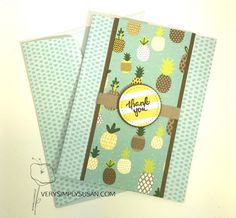 stampin up tutti frutti dsp Thanks Card, Thank You Note Cards, Tutti Frutti, Paper Cards, Diy Cards, Handmade Cards, Cute Fruit, Making Greeting Cards, Stamping Up Cards