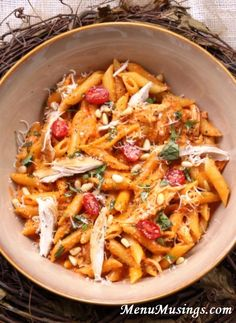 Roasted Red Pepper and Basil Pesto Penne - This healthy and delicious sauce is finished in the time it takes for the noodles to boil!