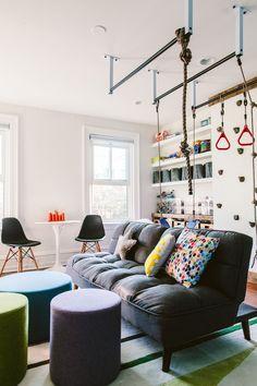 Shana S Playroom Reveal Playroom Play Spaces Indoor Jungle Gym, Indoor Gym, Deco Jungle, Kids Play Spaces, Modern Kids, Kids Room Design, Kids Corner, Interiores Design, Boy Room