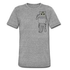 Geschenke Shop   Katze in Tasche grau - Unisex Tri-Blend T-Shirt von Bella + Canvas Shirt Diy, T Shirt, Unisex, Bella Canvas, Funny T Shirts, Cats, Bags, Supreme T Shirt, Tee Shirt