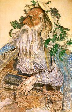 """The Athenaeum - Portrait of Andrzej Mielewski in the role of Rapsod in """"Bolesław the Bold"""" (Stanislaw Wyspianski - )"""