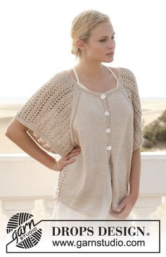 "Knitted DROPS jacket with lace pattern and raglan in ""Muskat"". Size: S - XXXL. ~ DROPS Design"