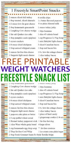 This free printable 1 Freestyle SmartPoint Snack Ideas for Weight Watchers list . This free printable 1 Freestyle SmartPoint Snack Ideas . Weight Watchers Snacks, Weight Watchers Tipps, Weight Watchers Smart Points, Weight Loss Meals, Weight Loss Challenge, Weight Loss Drinks, Weight Watchers Program, Losing Weight Tips, Healthy Snack Foods