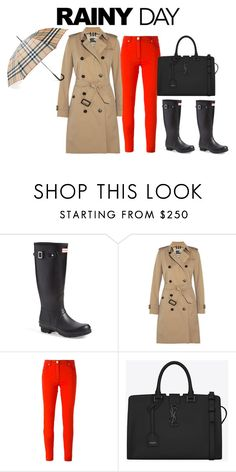 """""""Rainy Day in Burberry"""" by luxurymuse ❤ liked on Polyvore featuring Hunter, Burberry, Versace and Yves Saint Laurent"""