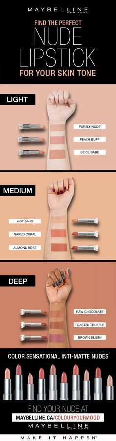 Finding the perfect nude lipstick for your skin tone with Maybelline Beauty Make-up, Beauty Hacks, Beauty Skin, Make Up Tricks, Makeup Guide, Makeup Hacks, Makeup Ideas, Lipstick Shades, Peach Lipstick