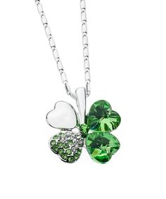 Look at this Green Swarovski® Crystal Four-Heart Clover Pendant Necklace on #zulily today!