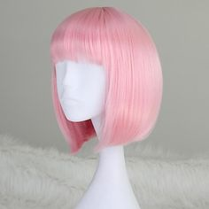 Girl's Capless Fashion Short Straight BOB Light Pink Synthetic Wig with Full Bang 2016 - $18.99