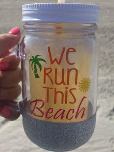 We Run this Beach Mason Jar/ Plastic Tumbler/ by SparkleandWine