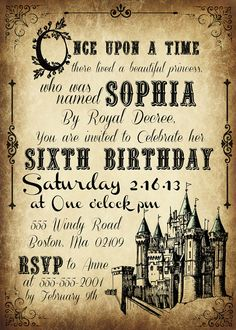 Printable Fairy tale castle invitations