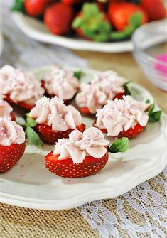 Topped with an easy cheesecake mixture made with strawberry jam, Strawberry Cheesecake Strawberry Bites make a fabulous little-bite dessert or treat perfect for Valentine's Day, Easter, Mother's Day, spring, a tea party, or every-day snacking!