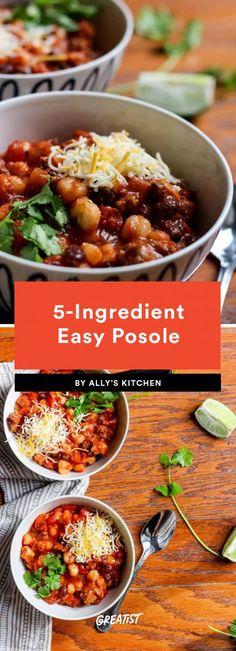 5. 5-Ingredient Easy Posole #greatist https://greatist.com/eat/meal-prep-lunch-ideas-with-5-ingredients