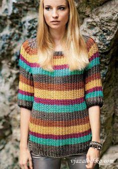 Пуловер реглан полупатентным узором