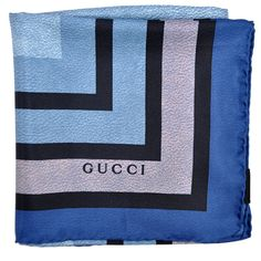 Gucci Silk Scarf Navy Blue Stripes Large Square Scarf from Como Milano