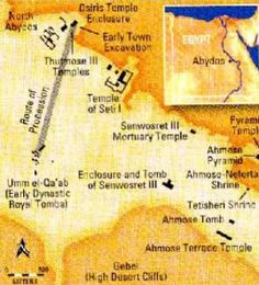 Map of Abydos, Egypt Abydos, or Abjdu, lies in the eight nome of Upper Egypt, about 300 miles south of Cairo, on the western side of the Nile and about 9.5 miles from the river. It spreads over 5 square miles and contains archaeological remains from all periods of ancient Egyptian history. It was significant in historical times as the main cult center of Osiris, the lord of the netherworld. At the mouth of the canyon at Abydos, which the Egyptians believed to be the entrance to the…