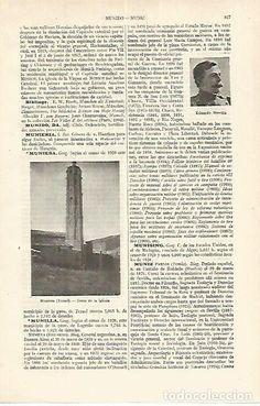 Coleccionismo: LAMINA ESPASA 17669: Torre de la iglesia de Muniesa Teruel - Foto 1 - 72326065