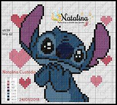 Lilo e Stitch Disney Cross Stitch Patterns, Cross Stitch Charts, Cross Stitch Designs, Lilo Et Stitch, Disney Stitch, Cross Stitching, Cross Stitch Embroidery, Embroidery Patterns, Pix Art