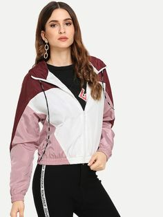 To find out about the Color Block Hooded Jacket at SHEIN, part of our latest Jackets ready to shop online today! Fashion News, Girl Fashion, Womens Fashion, Sporty Fashion, Fashion Clothes, Fitness Fashion, Hooded Jacket, Bomber Jacket, Sheepskin Jacket