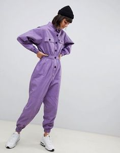 Find the best selection of ASOS DESIGN boilersuit with contrast buttons. Shop today with free delivery and returns (Ts&Cs apply) with ASOS! Fall Fashion Outfits, Look Fashion, Autumn Fashion, Casual Outfits, Cute Outfits, Womens Fashion, Purple Suits, Mode Costume, Modelista