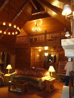 Beautiful living room in a log cedar home.