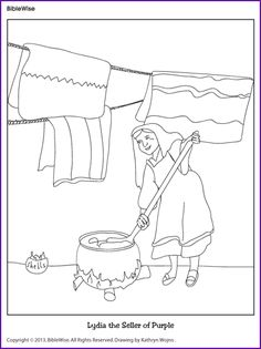 Lydia the Seller of Purple (Coloring Page) - Kids Korner - BibleWise