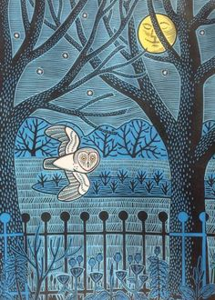 'In The Park' by Gerard Hobson (linocut)