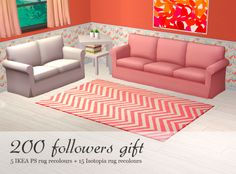 "Rugs again :) "" 15 x Isotopia rug recolours • requires Freetime EP • swatch 5 x IKEA PS rug reclours • requires IKEA SP • swatch >> Download all "" Tell me if you have any problems with them. Happy simming!"