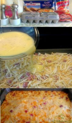 This Easy Breakfast Casserole Recipe has hash browns, ham, cheese, and eggs. This hash brown breakfast casserole can be made overnight. Perfect for Christmas breakfast! Breakfast And Brunch, Breakfast Dishes, Breakfast Recipes, Breakfast Ideas, Breakfast Pizza, Camping Breakfast, Brunch Ideas, Breakfast Healthy, Think Food