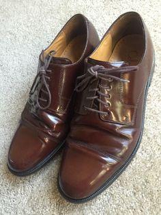 COLE HAAN Men's Brown Patent Leather Lace Up Dress Shoes ~EUC~ Size 9.5 M  | eBay