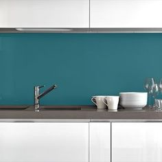 Complete custom green kitchen splashback solution including socket cut outs. Kitchen Dining Living, Small Dining, Kitchen Decor, Acrylic Splashbacks, Painted Slate, Wood Floor Kitchen, Kitchen Models, Wooden Stools, Acrylic Sheets
