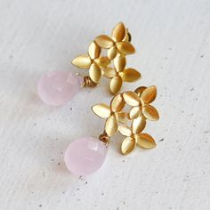 Gold Blossom Dangle Earrings Baby Pink Drop Ear by YuniDesigns