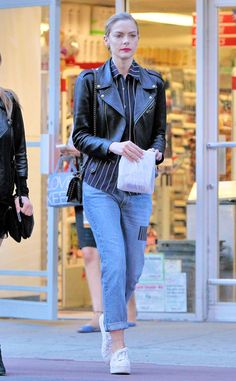 Jamie King from Gimme That! Celeb Denim  The model-actress embraces fall in these trendy patchwork jeans complemented by platform sneakers and a leather jacket.