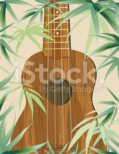 Aloha Hawaiian Party Invitation With Tropical Leaves And Ukulele royalty-free stock vector art