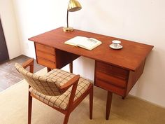 デンマークチークデスク 北欧ウェグナー無印ウニコイデー Scandinavian teak furniture ¥19500yen 〆04月03日