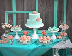 A lovely turquoise dessert table / cake table for a party or wedding reception. How To Create the Perfect Wedding Reception Dessert Bar Wedding Mint, Wedding Colors, Orange Weddings, Wedding Desserts, Wedding Cakes, Coral Baby Showers, Bar A Bonbon, Festa Party, Wedding Planning Tips