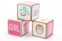 Baby Girl Nursery Wooden Baby Blocks Pink by Booksonblocks Wooden Baby Blocks, Photo Blocks, Girl Nursery, Create Your Own, Kids Room, Shabby Chic, Owl, Baby Shower, Etsy Shop