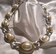 Monet two tone statement necklace with pearl by Ladysprettys, $16.99