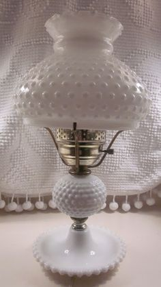 Large Fenton Hobnail Milk Glass Lamp a pair of these from my Mom until a nephew broke one! Fenton Lamps, Fenton Glassware, Vintage Glassware, Milk Glass Lamp, Fenton Milk Glass, Glass Lamps, Pendant Lamps, Pendant Lights, Antique Lamps