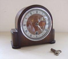 Delightful Original 1930s Davall ART DECO Wooden Mantel Clock by LuxfordVintage