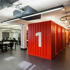 Google's flexible office featuring red shipping containers and a meeting area with five metre-high trees are included in this week's Pinterest roundup