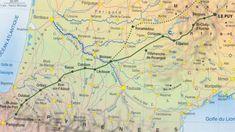 Voie Puy/Podiensis.Saint-Laurent-du-Var, Monistrol-d'Allier, Saugues, Saint-Alban-sur-Limagnole, Aumont-Aubrac, Nasbinals, Aubrac, Saint-Côme-d'Olt, Espalion, Estaing, Golinhac, Conques , Decazeville, Figeac, Cajarc (ou Béduer en choisissant la variante de la vallée du Célé), Cahors, Lascabanes, Lauzerte, Moissac, Auvillar, Miradoux, Lectoure, Condom, Montréal-du-Gers, Eauze, Aire-sur-l'Adour, Arzacq-Arraziguet, Arthez, Navarrenx, Saint-Palais, Ostabat, Saint-Jean-Pied-de-Port, Roncevaux,