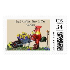 Red rooster Just Another Day In The Garden Postage - flowers floral flower design unique style